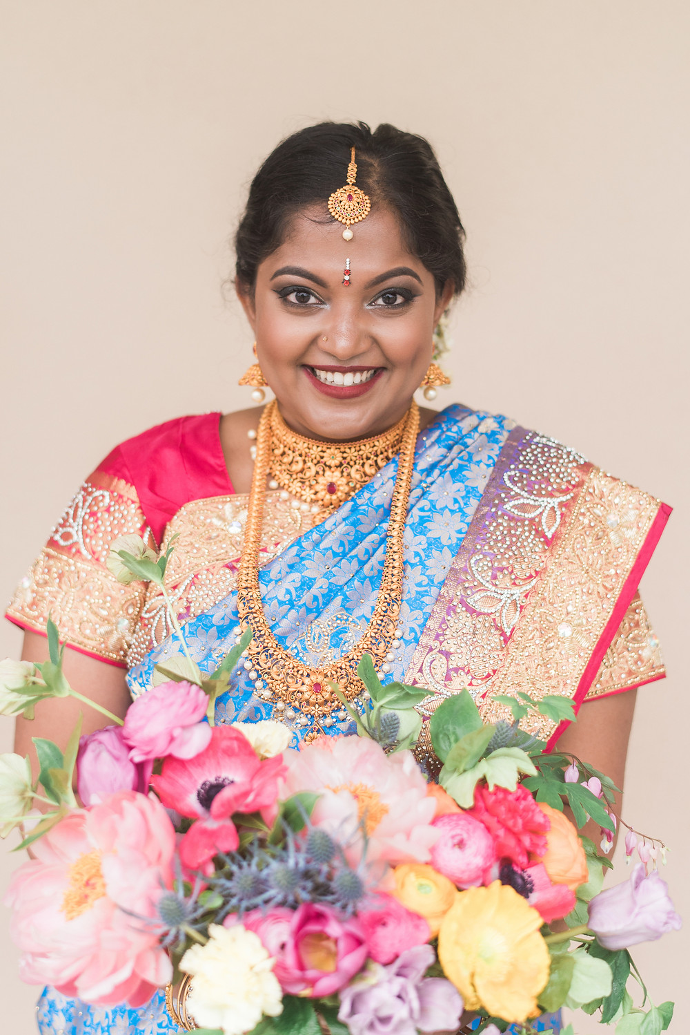 colorful indian bridal bouquet