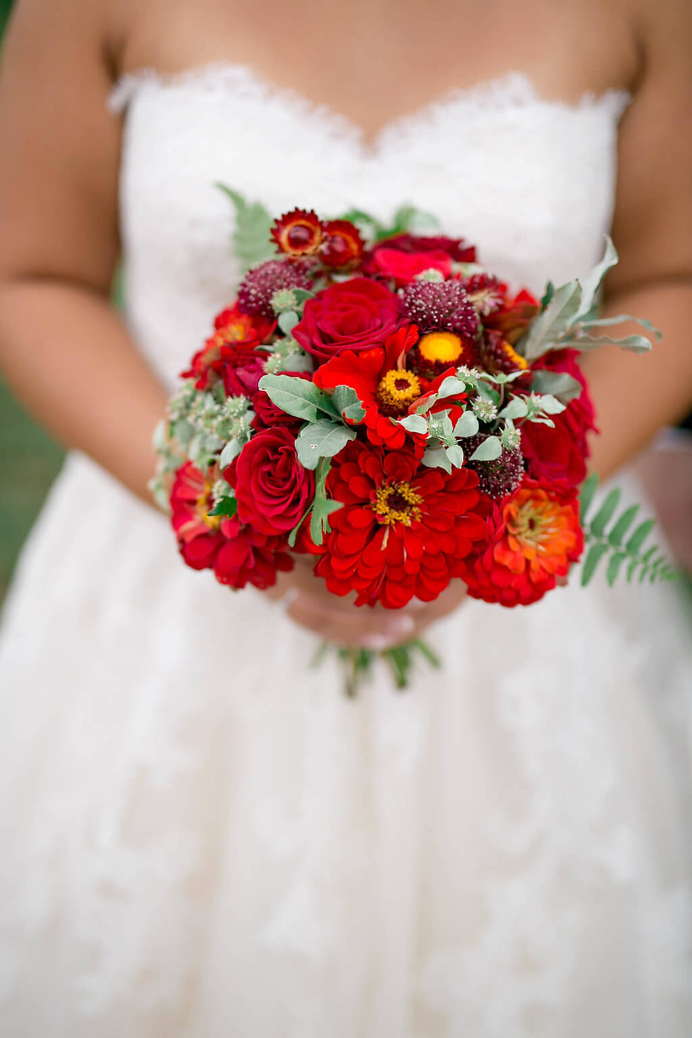 red virginia bridal bouquet