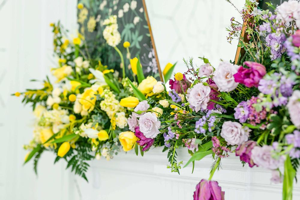 mantel flowers wedding