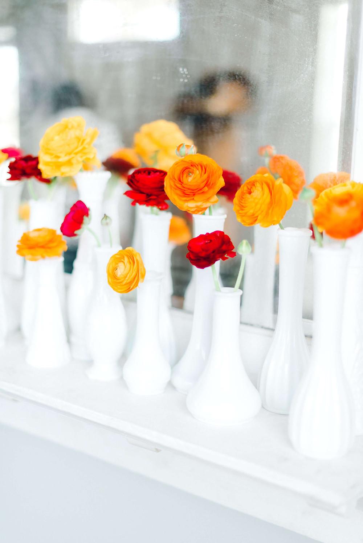 ranunculus milk glass bud vases
