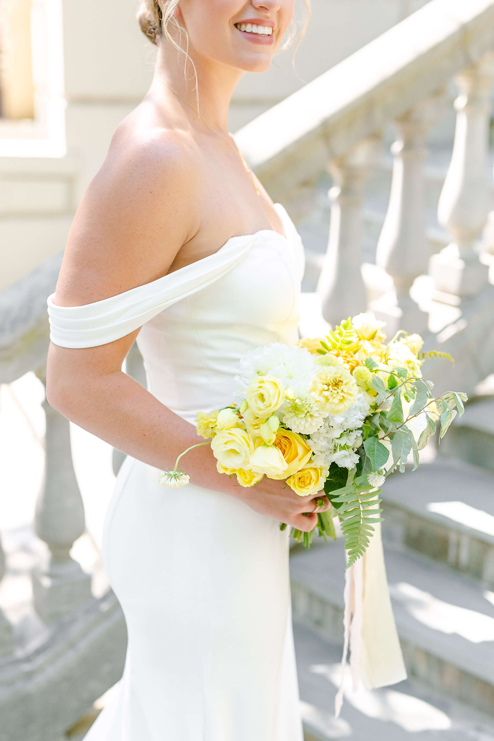 white and yellow bridal bouquet washington dc