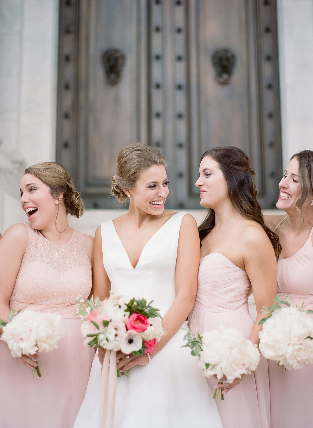 white and pink bridesmaids
