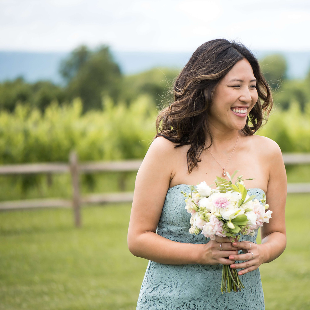 pink white and mint bridesmaid