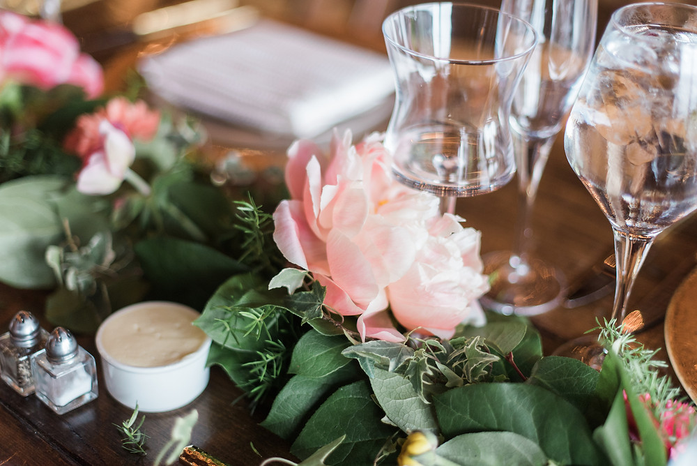 pink peony wedding garland