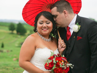 Red and Gold Stone Tower Winery Wedding