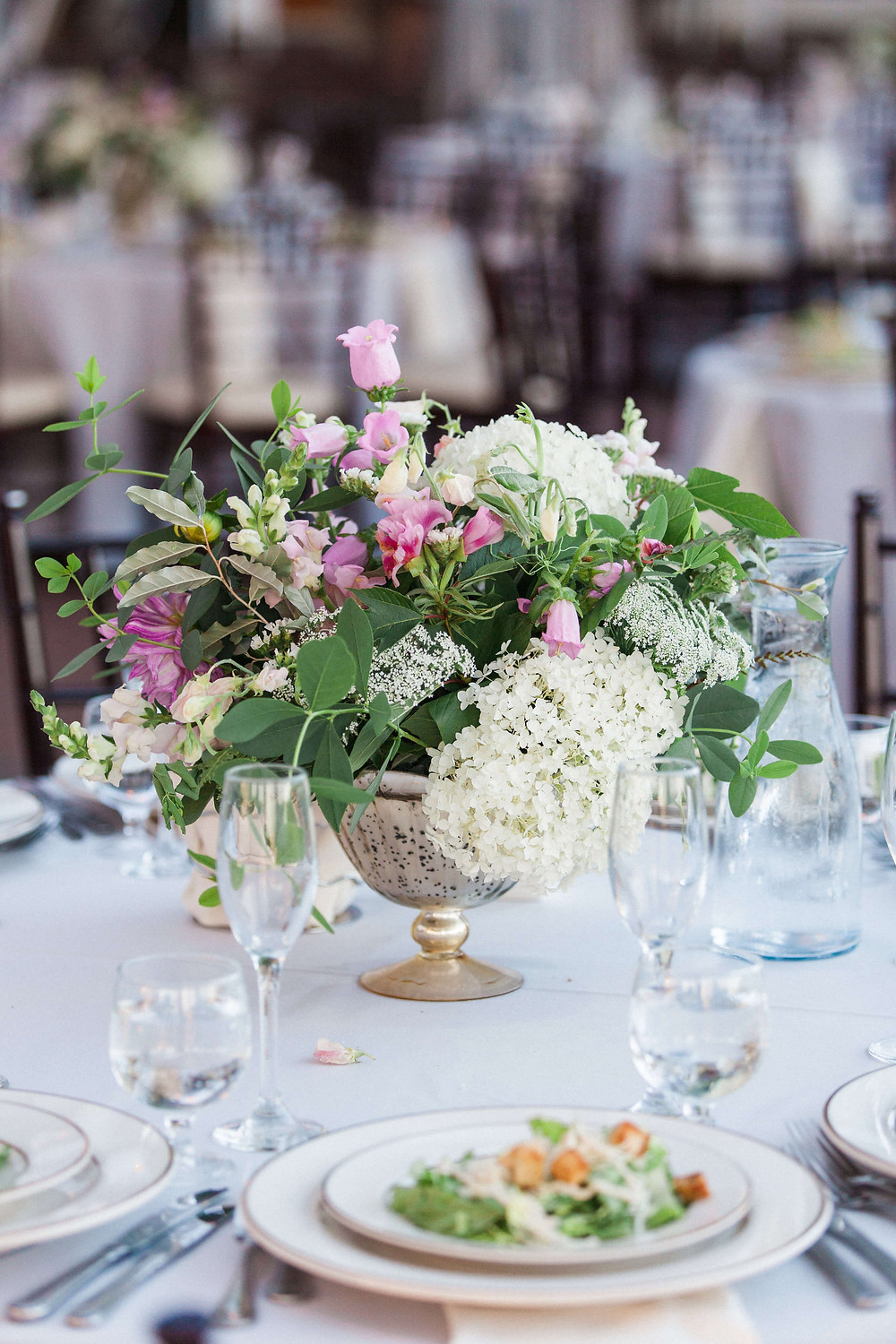 maryland pink and white wedding centerpiece