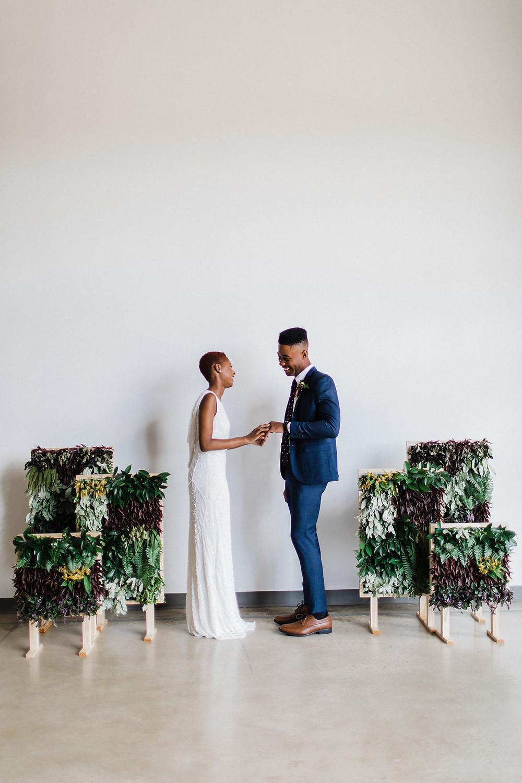 modern DC wedding ceremony greenery