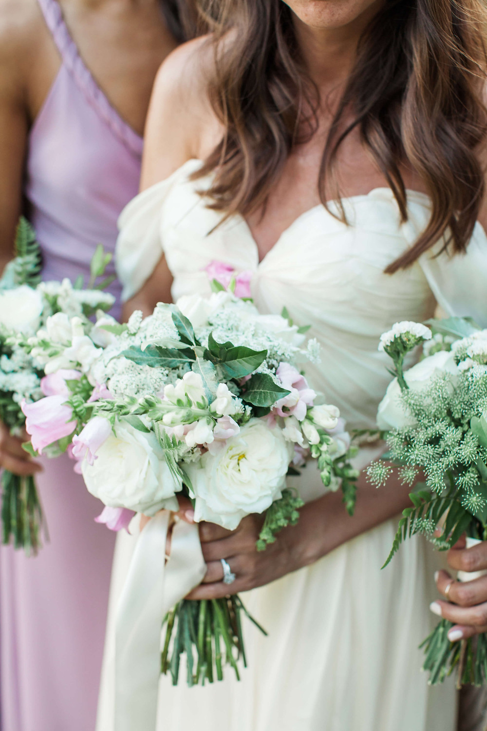 pink and white lavender bouquet