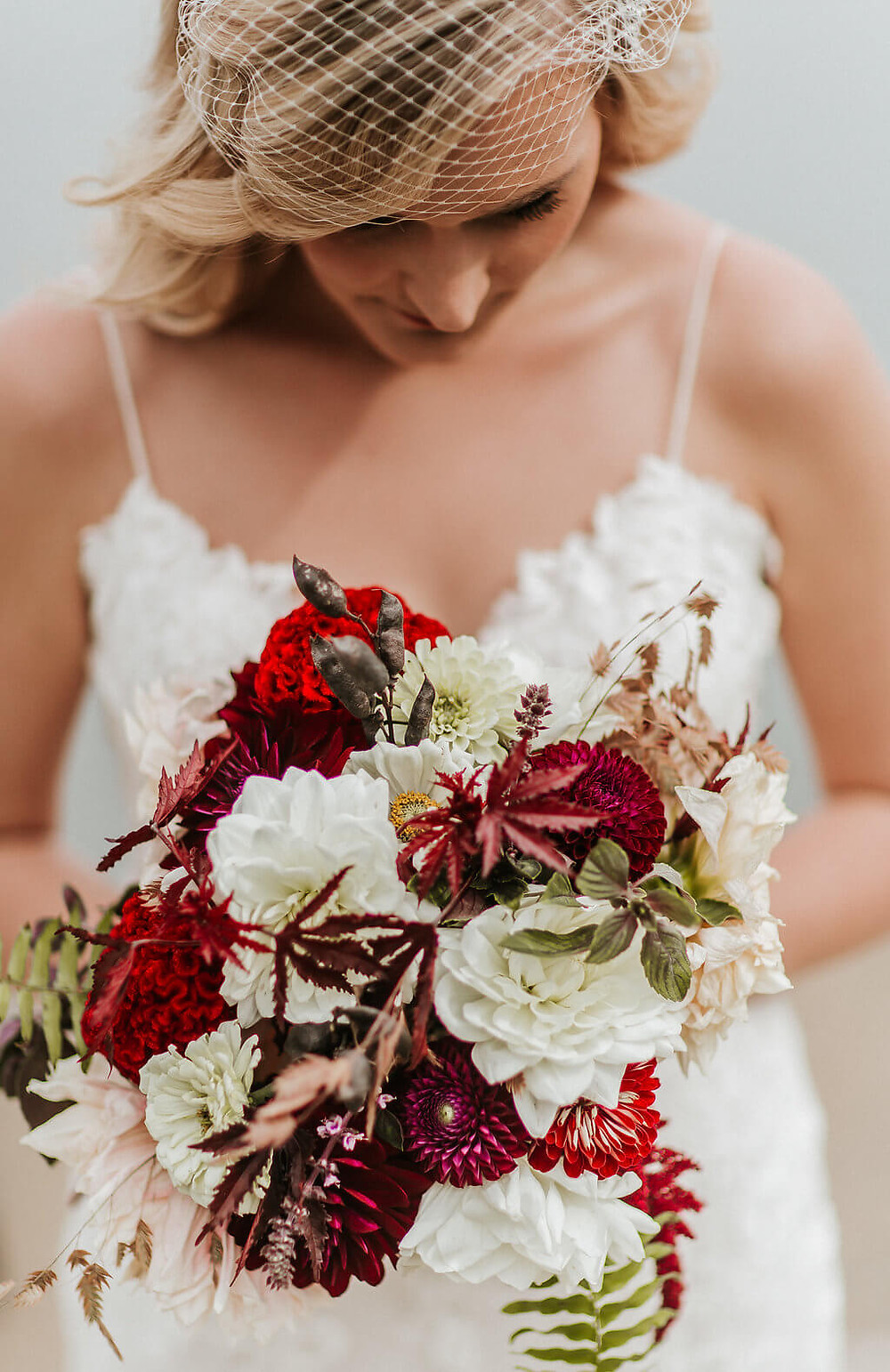 burgundy and white virginia weding bouquet