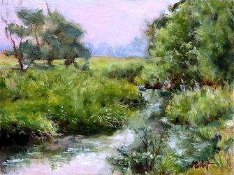 By The Stream, Patricia Corbett, Oil,12x