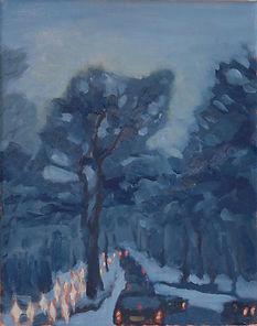 Snowjam, Patricia Corbett, Oil, 20x16, $