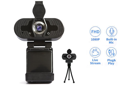 1080P Webcam with Microphone & Privacy Cover, Tripod Stand TSWC008(10pcs)