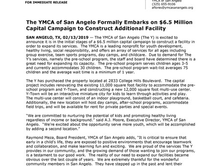 The YMCA of San Angelo Formally Embarks on $6.5 Million Capital Campaign