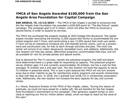 The YMCA of San Angelo Awarded $100,000 from the San Angelo Area Foundation