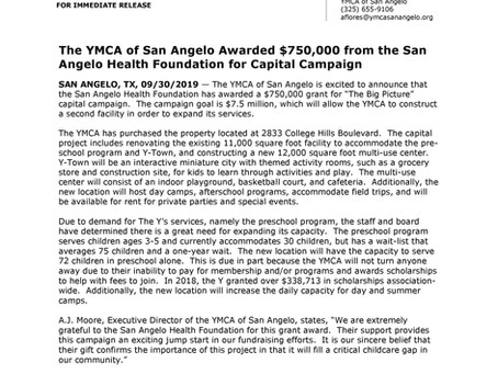 The YMCA of San Angelo Awarded $750,000 from the San Angelo Health Foundation for Capital Campaign