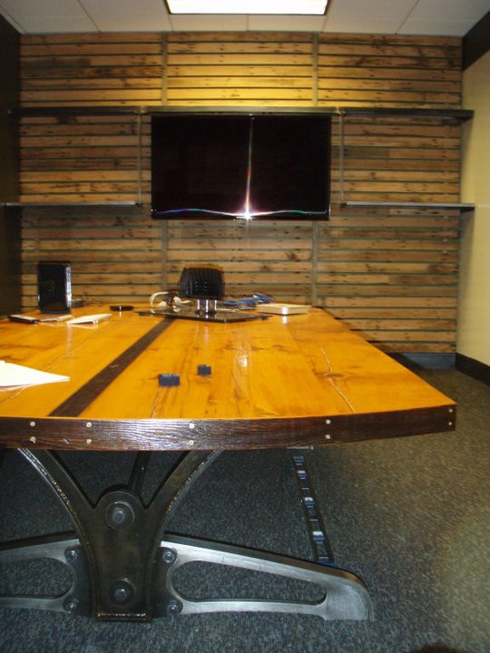 metal and barn wood conference table