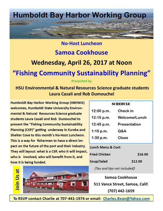 Upcoming FCSP Presentation at the Humboldt Bay Harbor Working Group