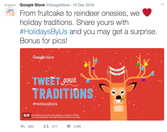 Google Store Holiday Tweet