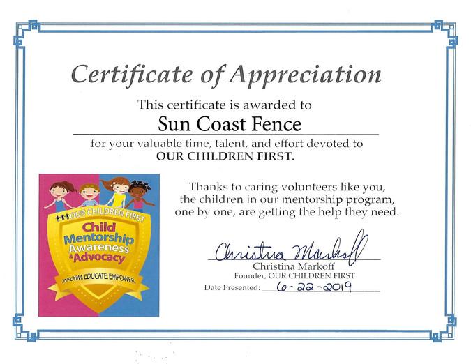 Our Children First Foundation Appreciation Award