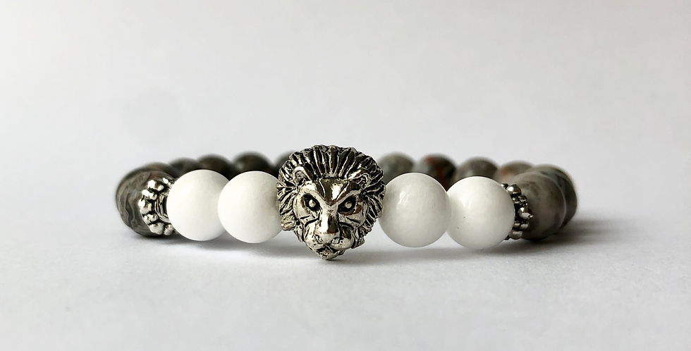 WHITE GREY LION karkötő