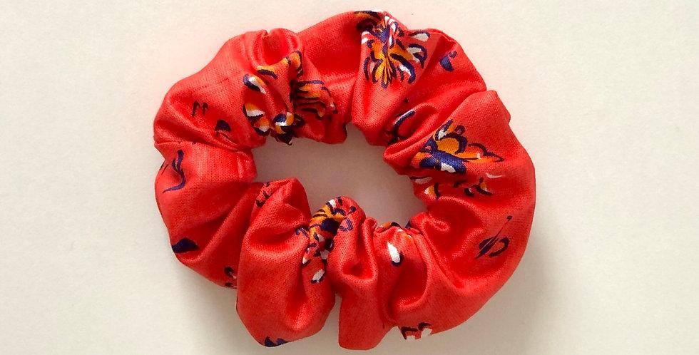 RED FLOWERS scrunchie