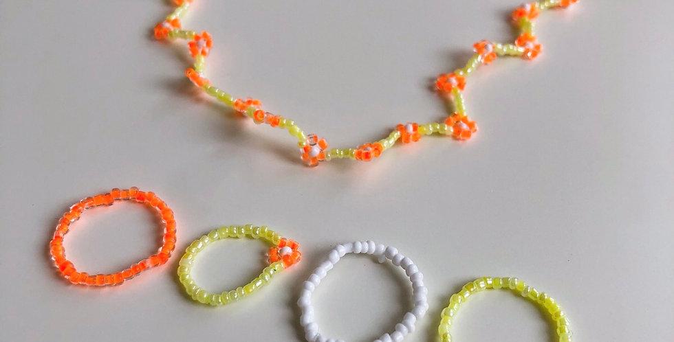 YELLOW FLOWERS nyaklánc + gyűrűk