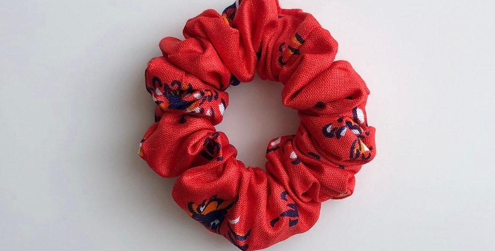RED FLOWERS scrunchie MINI