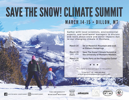 Save the Snow! Climate Summit- Mar 14-15th in Dillon, MT