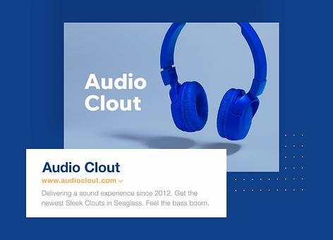 Un negocio online de electrónica con el nombre del negocio Audio Clout, URL y meta-tags