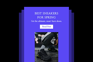 Example of promotional email showing white shoes.