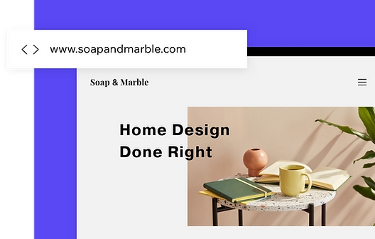Custom blog domain name for home decor website.