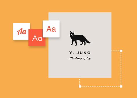 Diseño del logo de la marca con sugerencias de fuentes y nombre de negocio de fotografía online