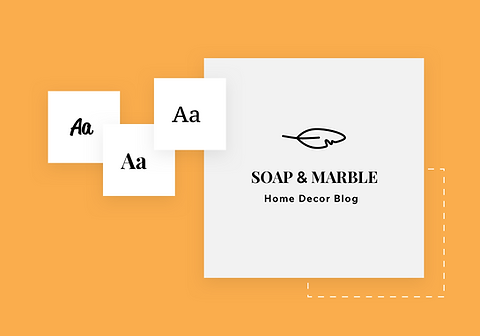 Brand logo with design suggestions and Soap & Marble blog name.