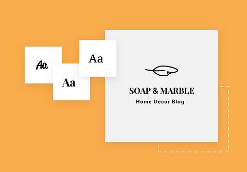 Logo de la marque avec des suggestions de design et nom du blog Soap & Marble.
