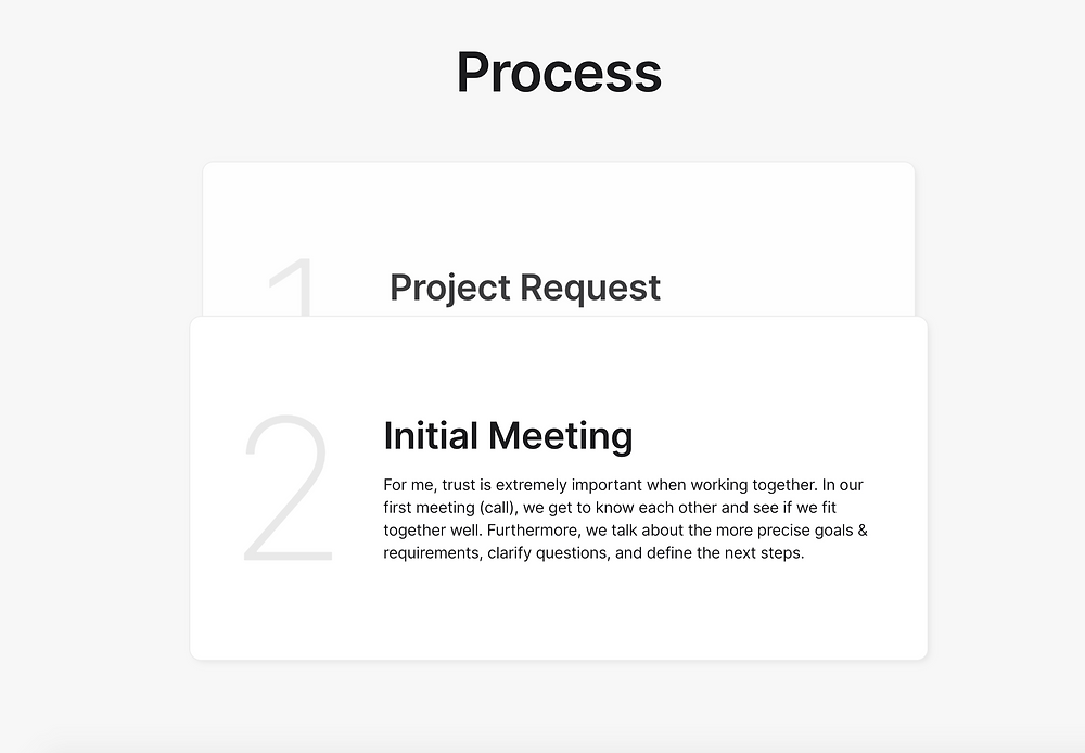 A contact process on the homepage outlining the process