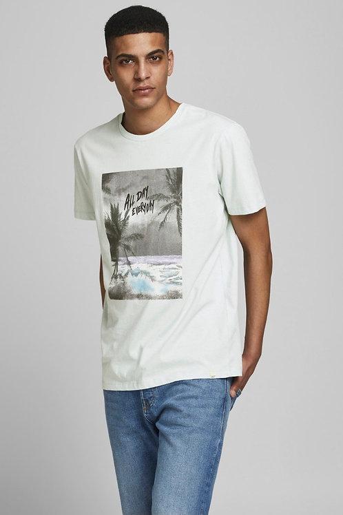 T-shirt con stampa colorata verticale
