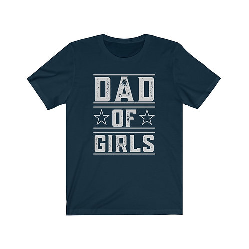 Dad of Girls with Stars- Bella + Canvas 3001 Unisex Jersey Short Sleeve Tee