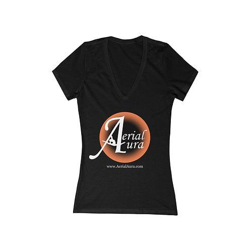 Aerial Aura- Women's Jersey Short Sleeve Deep V-Neck Tee