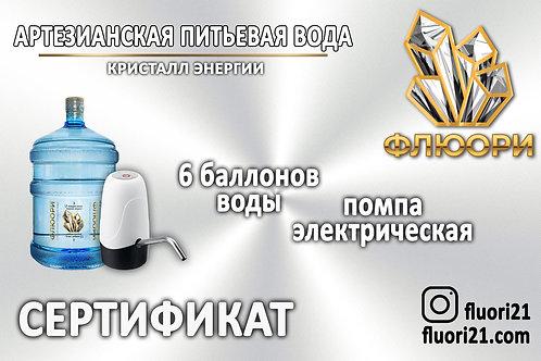 Сертификат «6 баллонов воды + помпа электрическая»