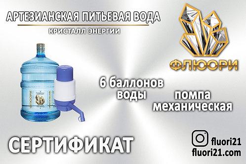 Сертификат «6 баллонов воды + помпа механическая»