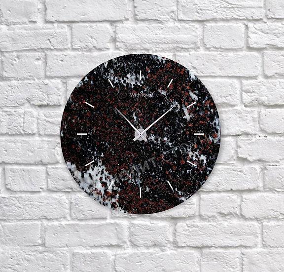 Часы из многоцветного гранита (d=30 см)