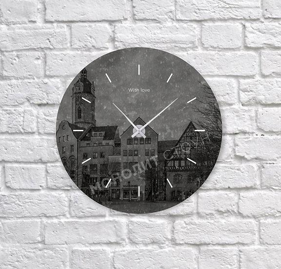 Часы из черного гранита (d=30 см)