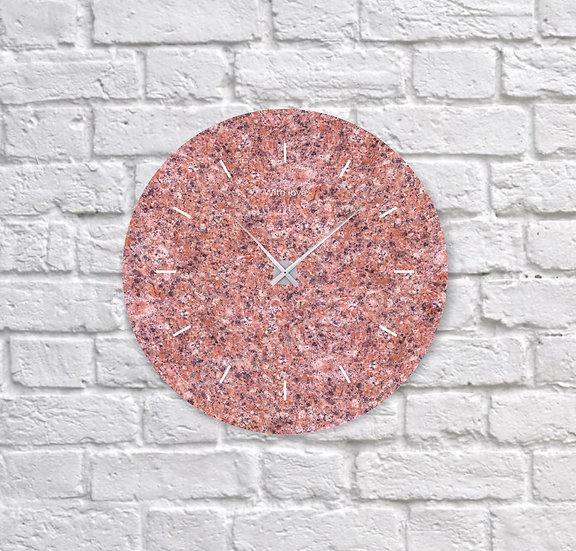 Часы из красного гранита (d=30 см)