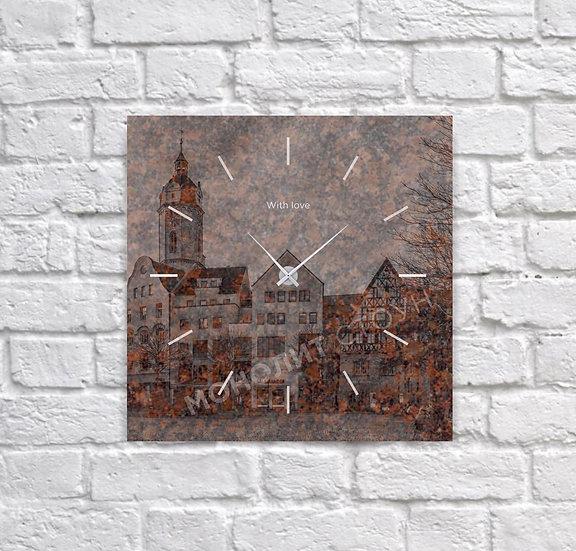 Часы из коричневого гранита (30*30 см)