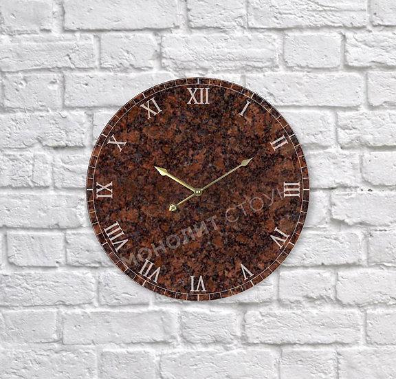 Часы из коричневого гранита (d=30 см)