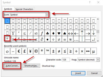 Word trick: Assign a symbol to a keyboard shortcut