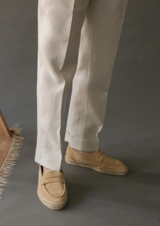 Trousers made with linen from Spence Bryson