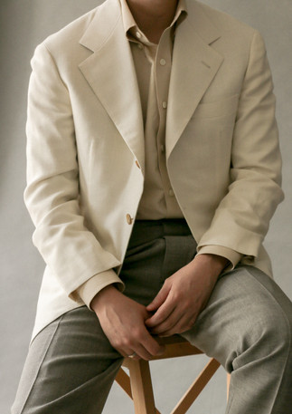 Jacket made with wool/silk/linen from Caccioppoli