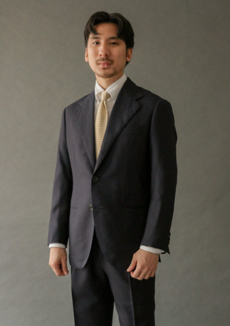 Suit made with hopsack wool from Alfred Brown