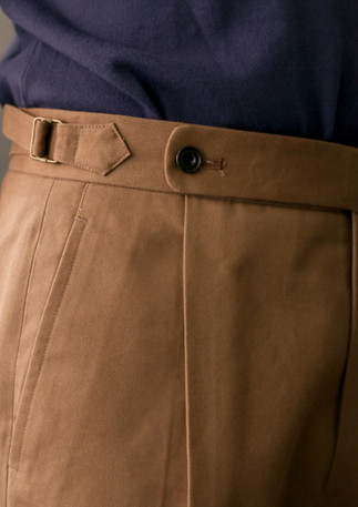 Trousers made with cotton twill from Brisbane Moss
